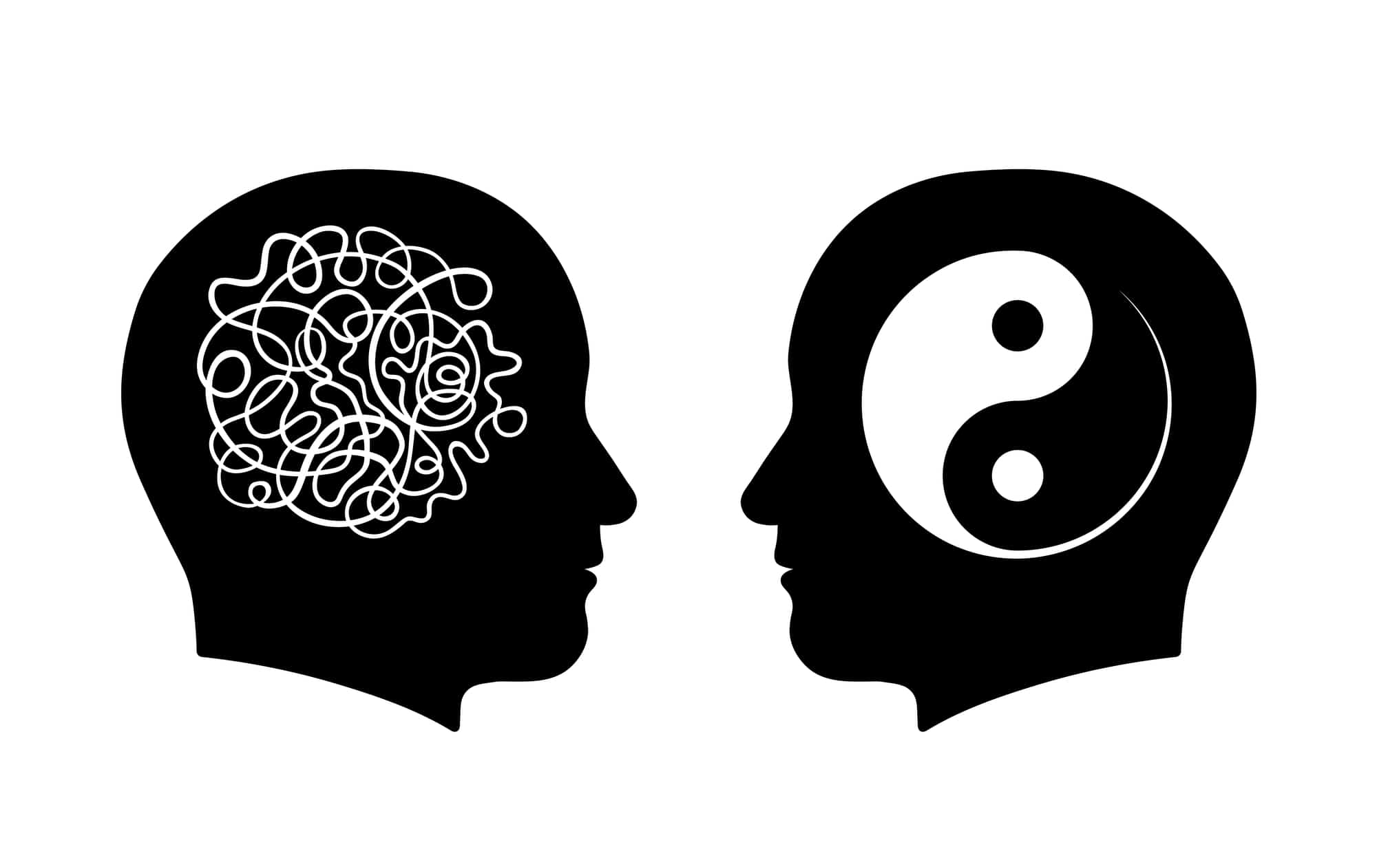 Figures of man head silhouettes with symbol of messy maze and yin and yang inside, vector illustration
