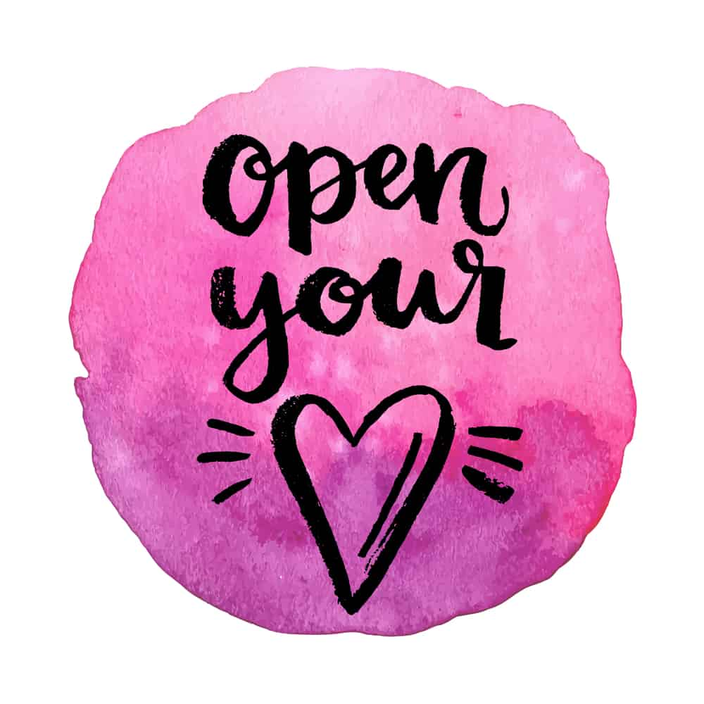 Open your heart. Hand drawn calligraphic quote on a watercolor background.